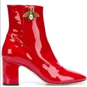 Gucci Gold Bee Motif Patent Ankle Boots